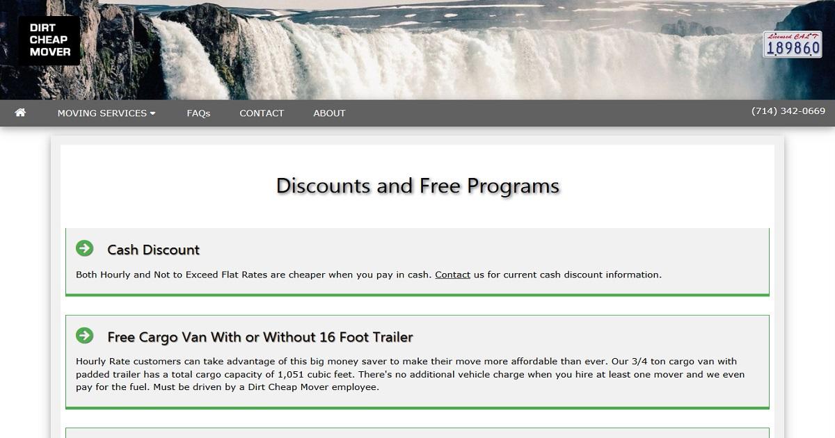 Dirt Cheap Mover - Discounts